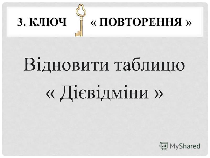 3. КЛЮЧ « ПОВТОРЕННЯ » Відновити таблицю « Дієвідміни »