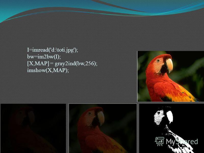 I=imread('d:\toti.jpg'); bw=im2bw(I); [X,MAP] = gray2ind(bw,256); imshow(X,MAP);