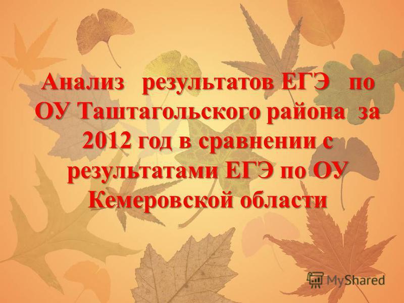 Анализ результатов ЕГЭ по ОУ Таштагольского района за 2012 год в сравнении с результатами ЕГЭ по ОУ Кемеровской области