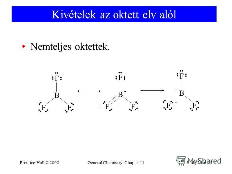 Prentice-Hall © 2002General Chemistry: Chapter 11Slide 26 of 43 Kivételek az oktett elv alól Nemteljes oktettek. B F FF B F FF - + B F FF - +