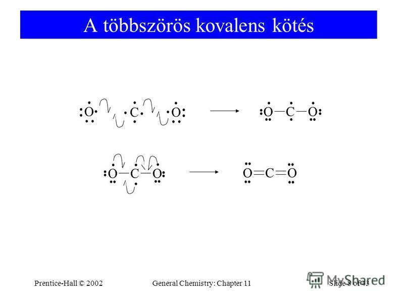 Prentice-Hall © 2002General Chemistry: Chapter 11Slide 8 of 43 A többszörös kovalens kötés C O O C O O C O O C O O