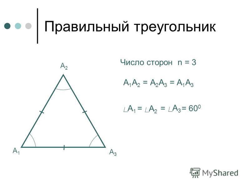 Правильный треугольник А1А1 А2А2 А3А3 А 1 А 2 = А 2 А 3 = А 1 А 3 Число сторон n = 3 = = = 60 0 А1А1 А2А2 А3А3