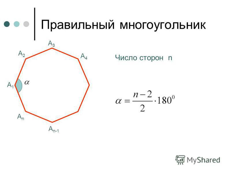 Правильный многоугольник А1А1 А2А2 А3А3 Число сторон n А4А4 А n-1 АnАn