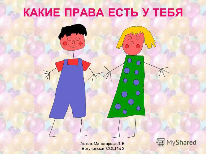 Автор: Маногарова Л. В. Богучанская СОШ 2 КАКИЕ ПРАВА ЕСТЬ У ТЕБЯ