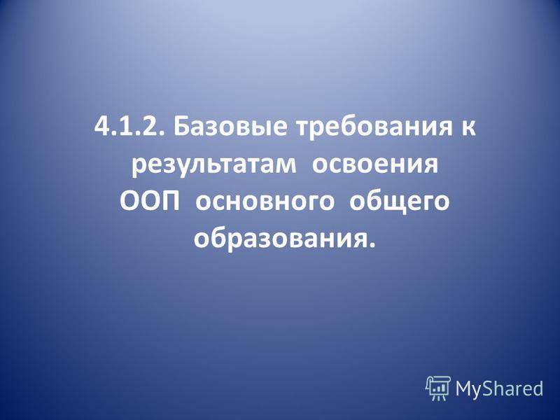 4.1.2. Базовые требования к результатам освоения ООП основного общего образования.