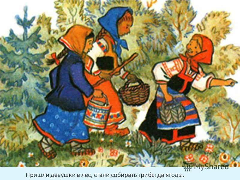 Пришли девушки в лес, стали собирать грибы да ягоды.