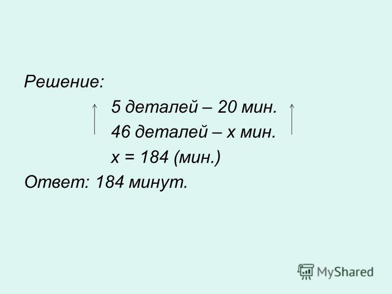 Решение: 5 деталей – 20 мин. 46 деталей – х мин. х = 184 (мин.) Ответ: 184 минут.
