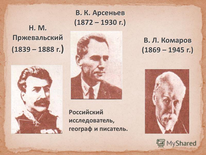 Н. М. Пржевальский (1839 – 1888 г. ) В. К. Арсеньев (1872 – 1930 г.) Российский исследователь, географ и писатель. В. Л. Комаров (1869 – 1945 г.)