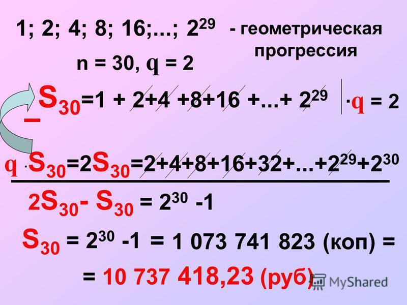 S 30 =1 + 2+4 +8+16 +...+ 2 29 1; 2; 4; 8; 16;...; 2 29 - геометрическая прогрессия n = 30, q = 2 · q = 2 q · S 30 =2 S 30 =2+4+8+16+32+...+2 29 +2 30 2 S 30 - S 30 = 2 30 -1 = 1 073 741 823 (коп) = = 10 737 418,23 (руб) S 30 = 2 30 -1