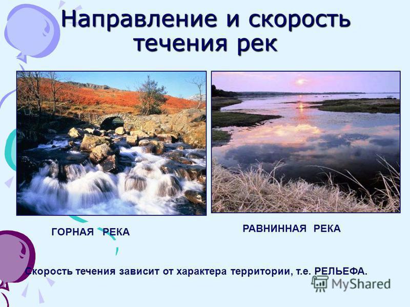 Направление и скорость течения рек ГОРНАЯ РЕКА РАВНИННАЯ РЕКА Скорость течения зависит от характера территории, т.е. РЕЛЬЕФА.