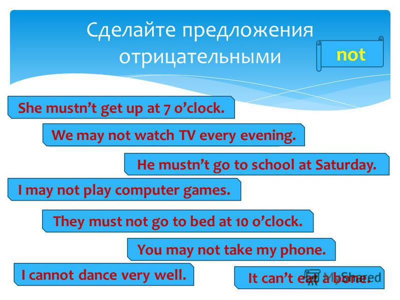 Сделайте предложения отрицательными She must get up at 7 oclock. He must go to school at Saturday. We may watch TV every evening. I can dance very well. They must go to bed at 10 oclock. It can eat a bone. You may take my phone. I may play computer g