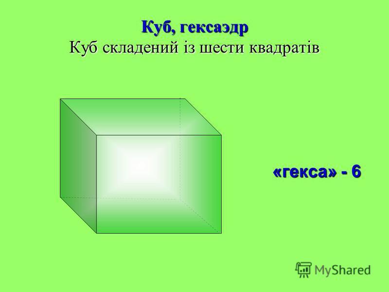 Куб, гексаэдр Куб складений із шести квадратів «гекса» - 6