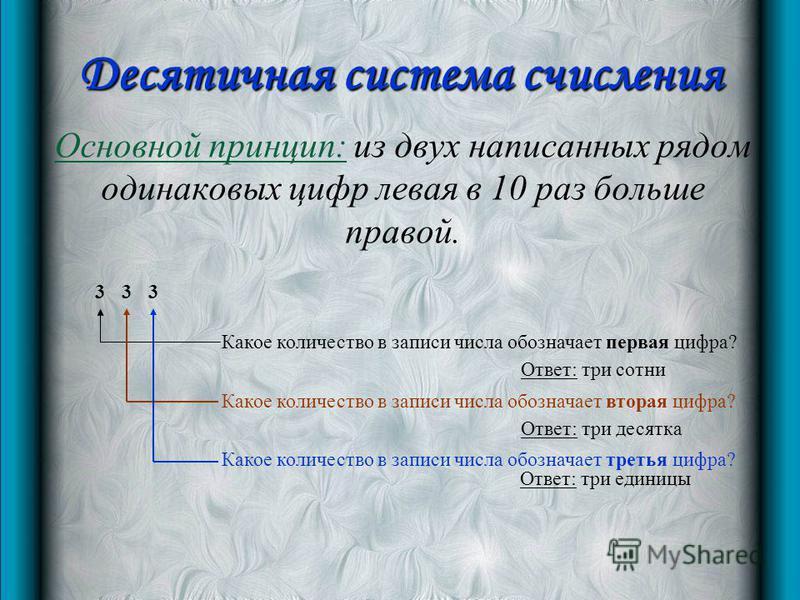 Десятичная система счисления Основной принцип: из двух написанных рядом одинаковых цифр левая в 10 раз больше правой. 333 Какое количество в записи числа обозначает первая цифра? Какое количество в записи числа обозначает вторая цифра? Какое количест