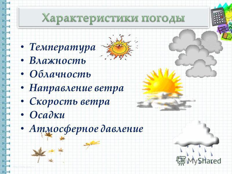 Температура Влажность Облачность Направление ветра Скорость ветра Осадки Атмосферное давление