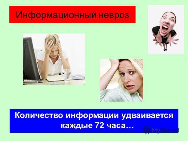 Информационный невроз Количество информации удваивается каждые 72 часа…