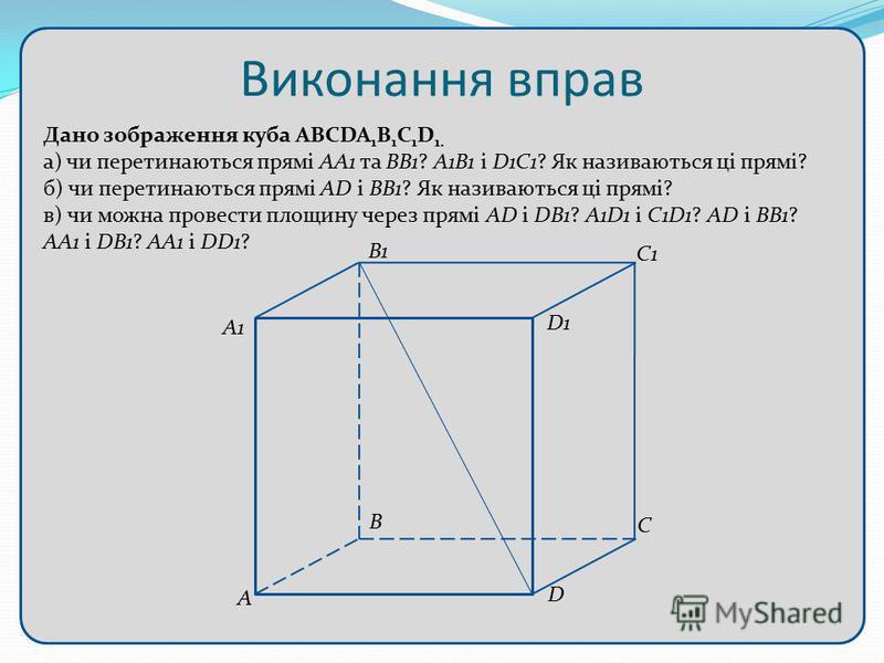 Виконання вправ Дано зображення куба ABCDA 1 B 1 C 1 D 1. а) чи перетинаються прямі АА1 та ВВ1? А1В1 і D1C1? Як називаються ці прямі? б) чи перетинаються прямі AD і BB1? Як називаються ці прямі? в) чи можна провести площину через прямі AD і DB1? A1D1