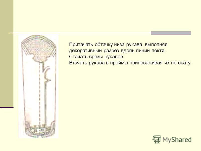 Притачать обтачку низа рукава, выполняя декоративный разрез вдоль линии локтя. Стачать срезы рукавов Втачать рукава в проймы припомаживая их по окату.