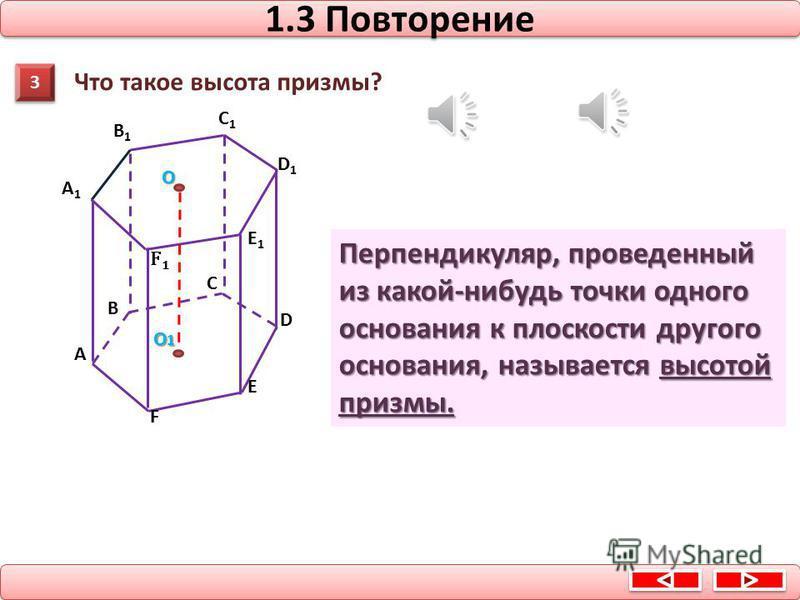 1.2 Повторение α A1 A2 An B2 B1 Bn Многоугольники A 1 A 2 …A n и B 1 B 2 …B n - основания призмы боковые грани Параллелограммы А 1 В 1 В 2 А 2,… А 1 В 1 В n А n – боковые грани призмы боковые ребра Отрезки А 1 В 1, А 2 В 2, …, A n B n – боковые ребра