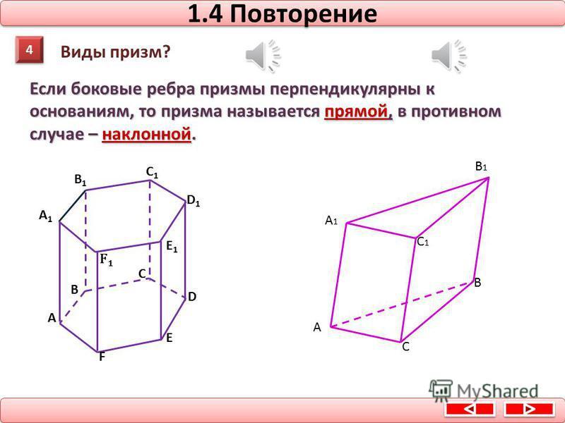 3 3 Что такое высота призмы? 1.3 Повторение A1A1 B1B1 C1C1 D1D1 E1E1 F1F1 А В C D E F Перпендикуляр, проведенный из какой-нибудь точки одного основания к плоскости другого основания, называется высотой призмы. O O1O1O1O1