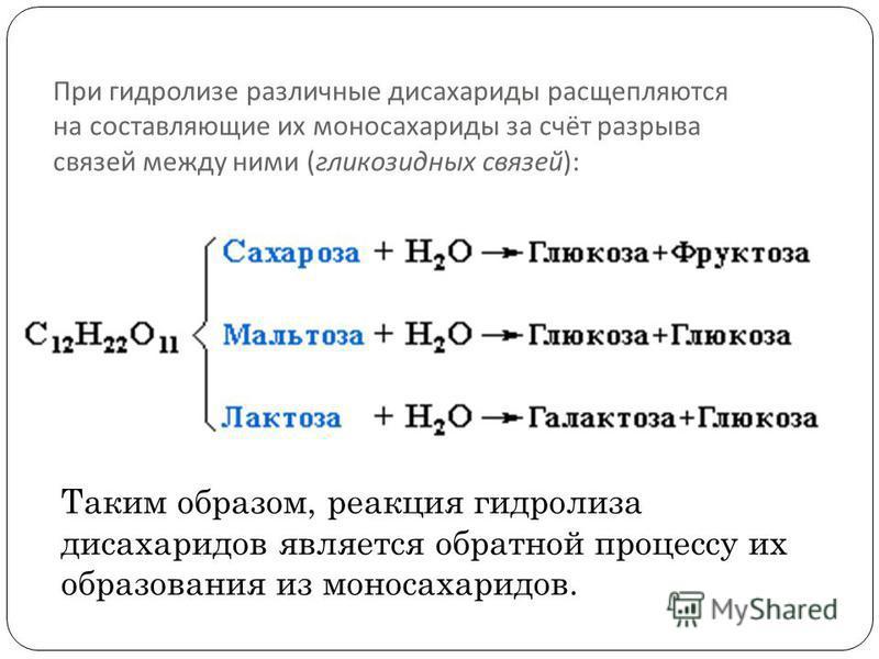 При гидролизе различные дисахариды расщепляются на составляющие их моносахариды за счёт разрыва связей между ними ( гликозидных связей ): Таким образом, реакция гидролиза дисахаридов является обратной процессу их образования из моносахаридов.