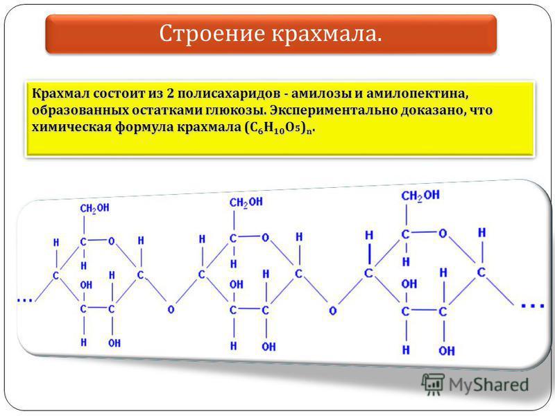 Крахмал состоит из 2 полисахаридов - амилозы и амилопектина, образованных остатками глюкозы. Экспериментально доказано, что химическая формула крахмала (C 6 H 10 O 5 ) n. Строение крахмала.