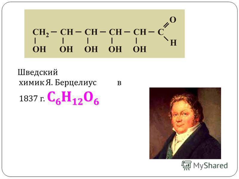 С 6 Н 12 О 6 Шведский химик Я. Берцелиус в 1837 г. С 6 Н 12 О 6