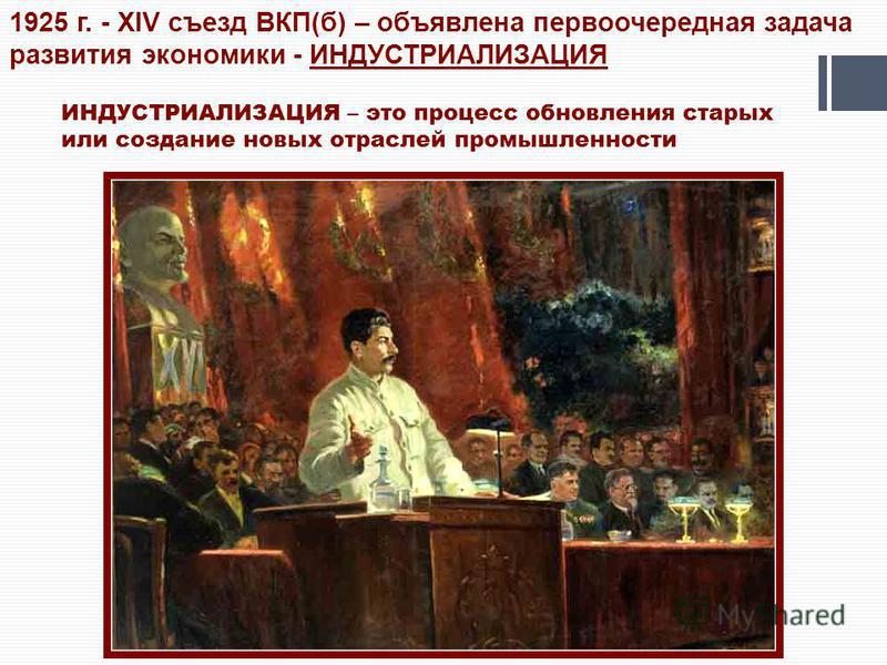 1925 г. - XIV съезд ВКП(б) – объявлена первоочередная задача развития экономики - ИНДУСТРИАЛИЗАЦИЯ ИНДУСТРИАЛИЗАЦИЯ – это процесс обновления старых или создание новых отраслей промышленности