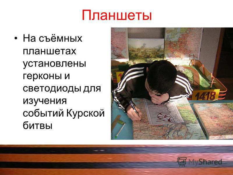 Планшеты На съёмных планшетах установлены герконы и светодиоды для изучения событий Курской битвы