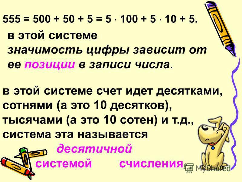I = 1; V = 5; X = 10; L = 50; С = 100; D = 500; M = 1000. 111 222 333 444 555 CXI CCXXII CCCXXXIII CDXLIV DLV Надоске Надоске