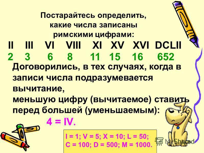 В позднейшем своем виде римские цифры выглядят так: I = 1; V = 5; X = 10; L = 50; С = 100; D = 500; M = 1000. Например, VI = 6, т.е. 5 + 1, IV = 4, т.е. 5 – 1, XL = 40, т е. 50 – 10, LX = 60, т.е. 50 + 10.