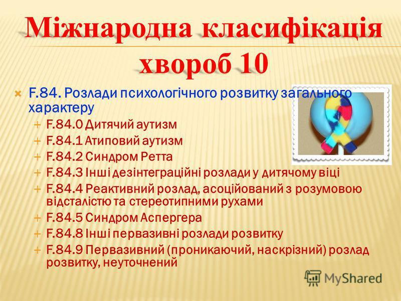 Міжнародна класифікація хвороб 10 F.84. Розлади психологiчного розвитку загального характеру F.84.0 Дитячий аутизм F.84.1 Атиповий аутизм F.84.2 Синдром Ретта F.84.3 Iншi дезiнтеграцiйнi розлади у дитячому вiцi F.84.4 Реактивний розлад, асоцiйований