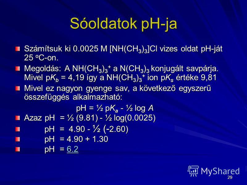 29 Számítsuk ki 0.0025 M [NH(CH 3 ) 3 ]Cl vizes oldat pH-ját 25 o C-on. Megoldás: A NH(CH 3 ) 3 + a N(CH 3 ) 3 konjugált savpárja. Mivel pK b = 4,19 így a NH(CH 3 ) 3 + ion pK s értéke 9,81 Mivel ez nagyon gyenge sav, a következő egyszerű összefüggés