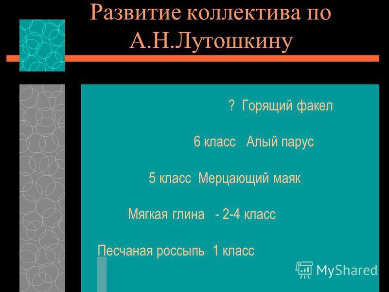 Развитие коллектива по А.Н.Лутошкину ? Горящий факел 6 класс Алый парус 5 класс Мерцающий маяк Мягкая глина - 2-4 класс Песчаная россыпь 1 класс