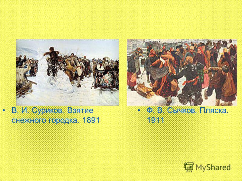 В. И. Суриков. Взятие снежного городка. 1891 Ф. В. Сычков. Пляска. 1911