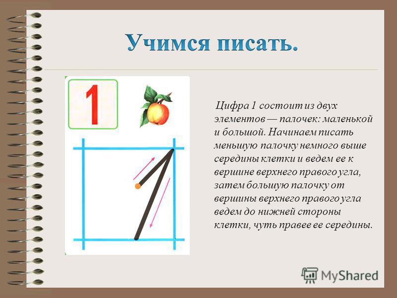 Цифра 1 состоит из двух элементов палочек: маленькой и большой. Начинаем писать меньшую палочку немного выше середины клетки и ведем ее к вершине верхнего правого угла, затем большую палочку от вершины верхнего правого угла ведем до нижней стороны кл