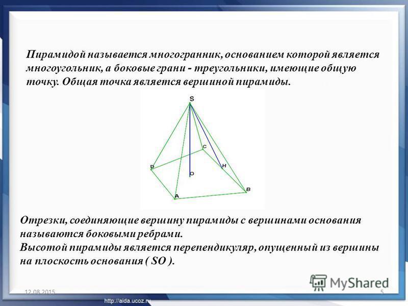 12.08.20155 Пирамидой называется многогранник, основанием которой является многоугольник, а боковые грани - треугольники, имеющие общую точку. Общая точка является вершиной пирамиды. Отрезки, соединяющие вершину пирамиды с вершинами основания называю