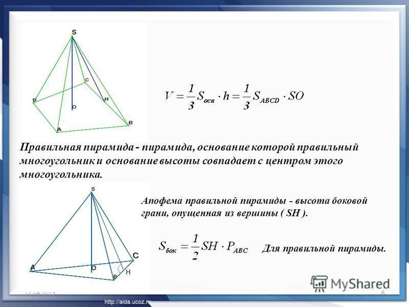 12.08.20156 Правильная пирамида - пирамида, основание которой правильный многоугольник и основание высоты совпадает с центром этого многоугольника. Апофема правильной пирамиды - высота боковой грани, опущенная из вершины ( SH ). H Для правильной пира