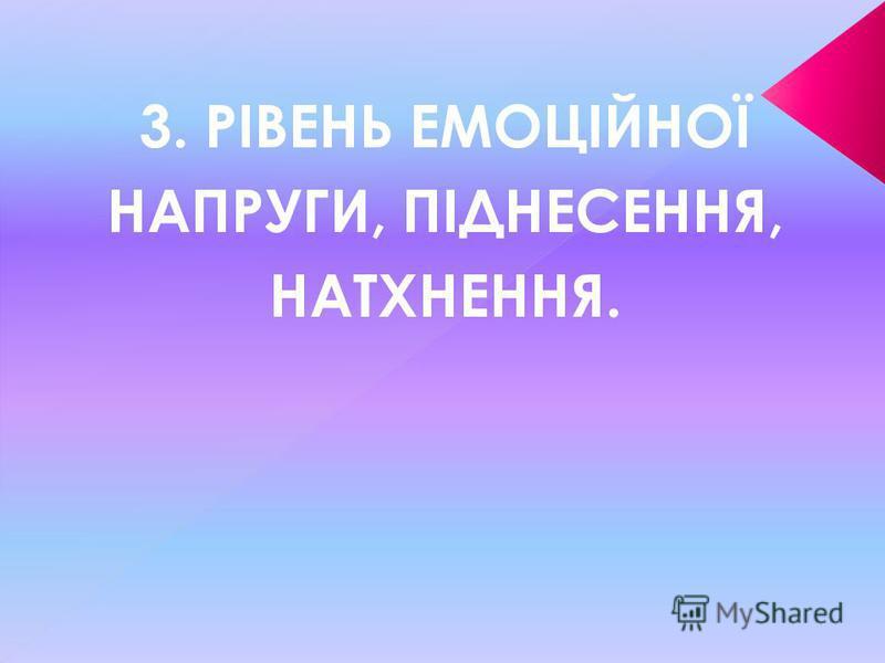 3. РІВЕНЬ ЕМОЦІЙНОЇ НАПРУГИ, ПІДНЕСЕННЯ, НАТХНЕННЯ.