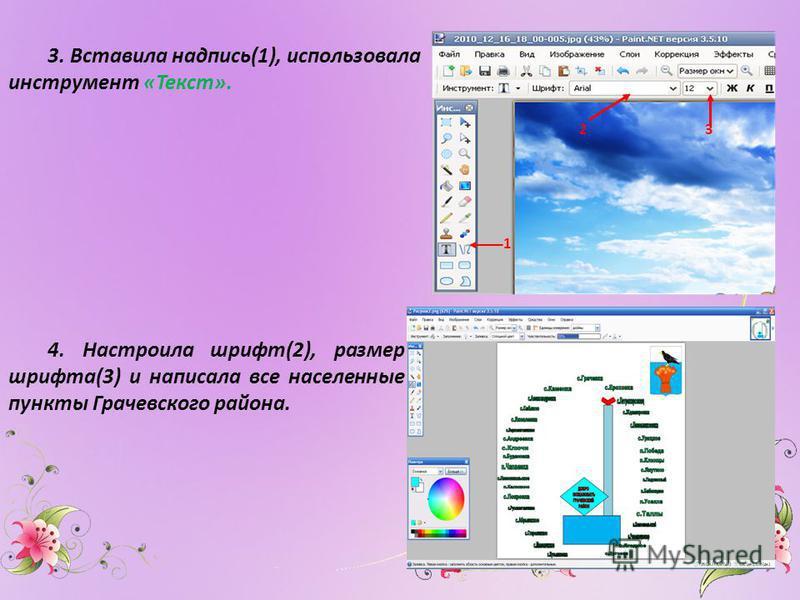 3. Вставила надпись(1), использовала инструмент «Текст». 1 2 3 4. Настроила шрифт(2), размер шрифта(3) и написала все населенные пункты Грачевского района.