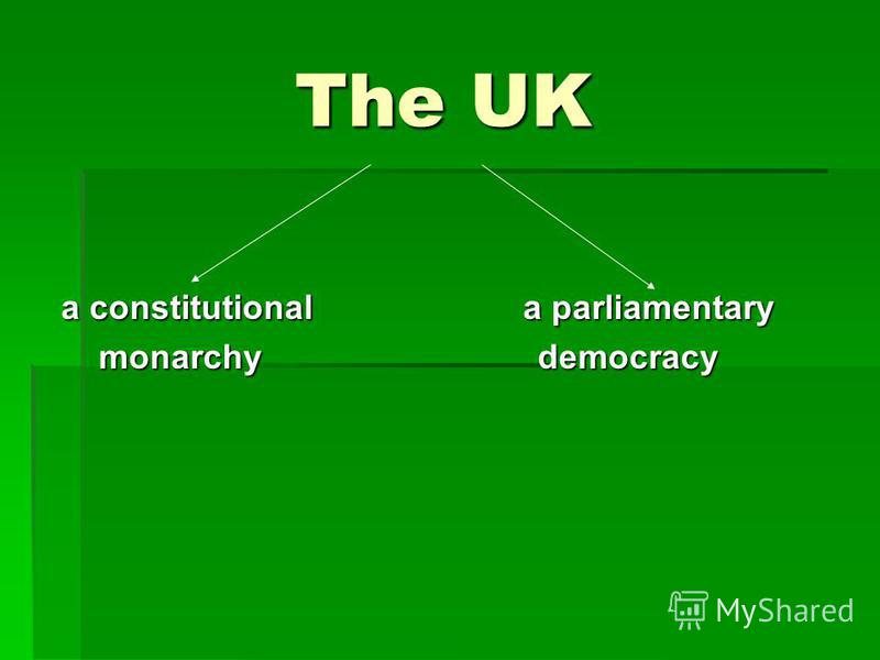 The UK The UK a constitutional a parliamentary monarchy democracy monarchy democracy