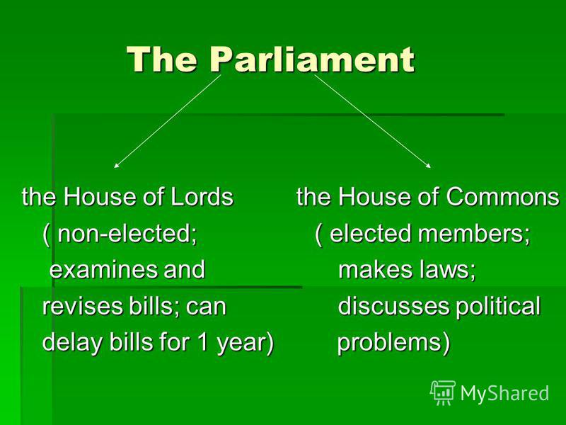 The Parliament The Parliament the House of Lords the House of Commons ( non-elected; ( elected members; ( non-elected; ( elected members; examines and makes laws; examines and makes laws; revises bills; can discusses political revises bills; can disc