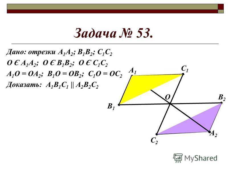 Задача 53. Дано: отрезки А 1 А 2 ; В 1 В 2 ; С 1 С 2 О Є А 1 А 2 ; О Є В 1 В 2 ; О Є С 1 С 2 А 1 О = ОА 2 ; В 1 О = ОВ 2 ; С 1 О = ОС 2 Доказать: А 1 В 1 С 1 || А 2 В 2 С 2 А1А1 В1В1 А2А2 В2В2 С2С2 С1С1 О