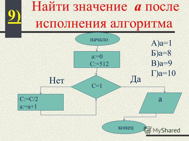 Найти значение а после исполнения алгоритма 9) начало C=1 а:=0 C:=512 C:=C/2 a:=a+1 a конец Да Нет А)а=1 Б)а=8 В)а=9 Г)а=10