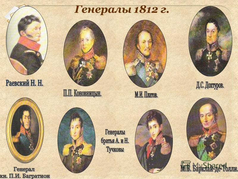 Генералы 1812 г.