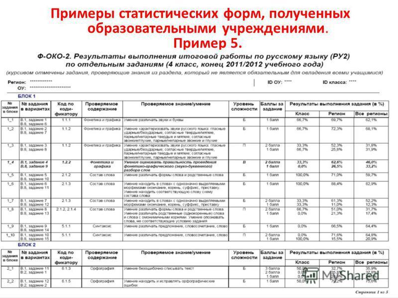 Примеры статистических форм, полученных образовательными учреждениями. Пример 5. 20