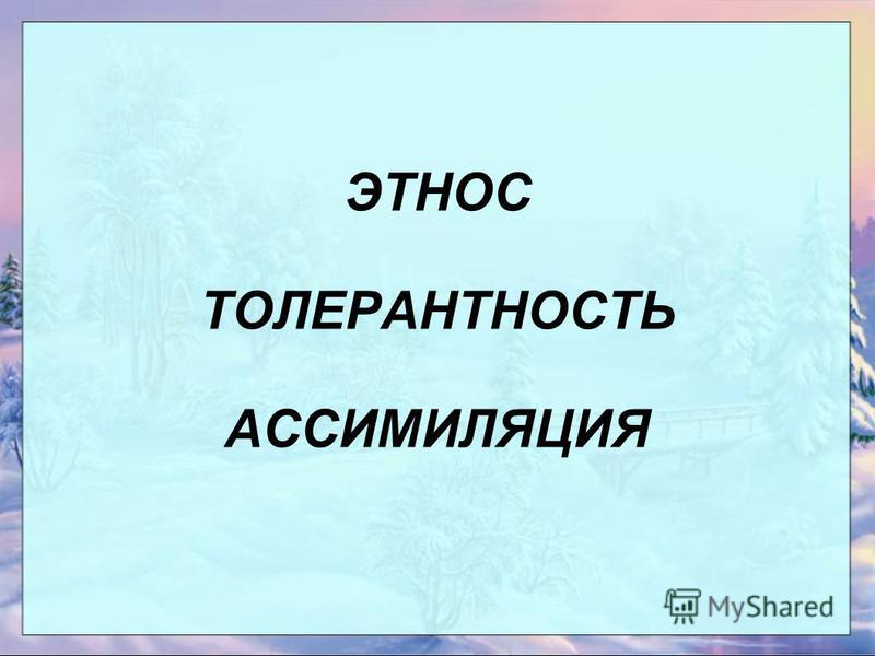 ЭТНОС ТОЛЕРАНТНОСТЬ АССИМИЛЯЦИЯ