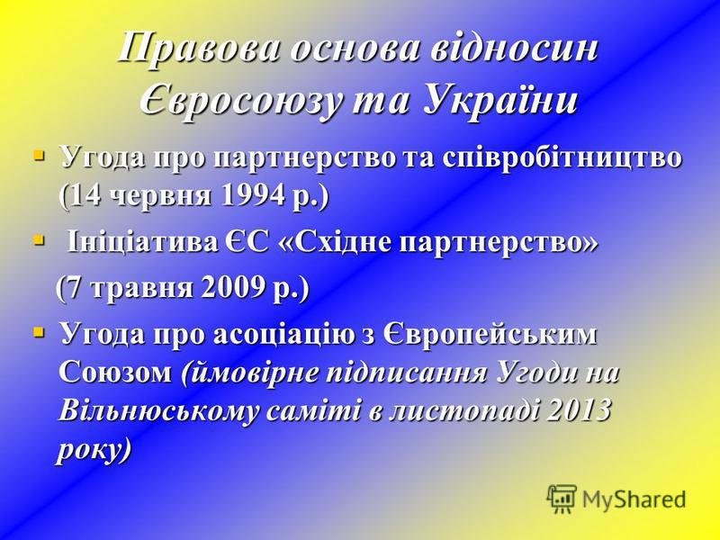 Правова основа відносин Євросоюзу та України Угода про партнерство та співробітництво (14 червня 1994 р.) Угода про партнерство та співробітництво (14 червня 1994 р.) Ініціатива ЄС «Східне партнерство» Ініціатива ЄС «Східне партнерство» (7 травня 200