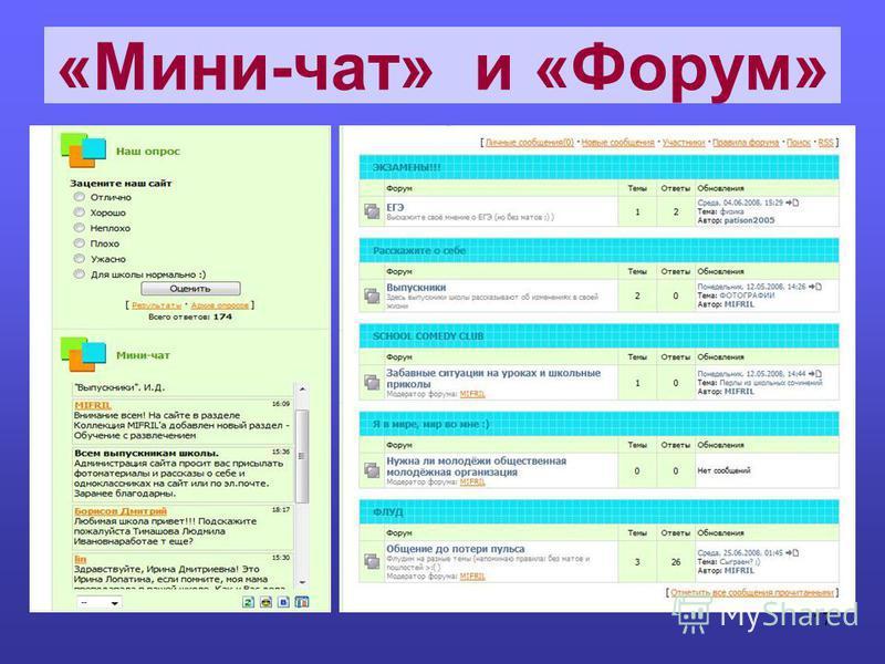 «Мини-чат» и «Форум» 17