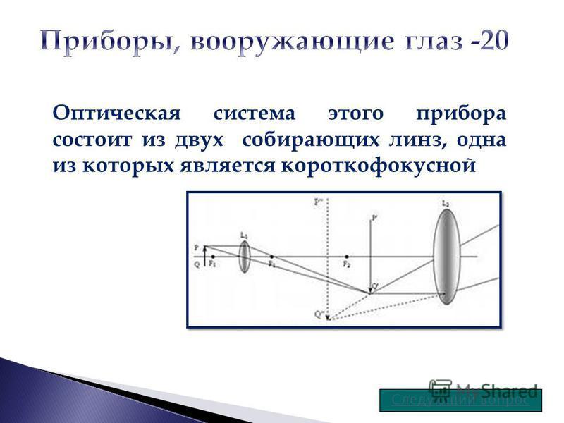 Оптическая система этого прибора состоит из двух собирающих линз, одна из которых является короткофокусной