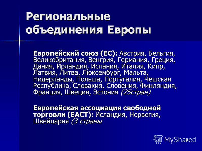 19 Региональные объединения Европы Европейский союз (ЕС): Австрия, Бельгия, Великобритания, Венгрия, Германия, Греция, Дания, Ирландия, Испания, Италия, Кипр, Латвия, Литва, Люксембург, Мальта, Нидерланды, Польша, Португалия, Чешская Республика, Сло